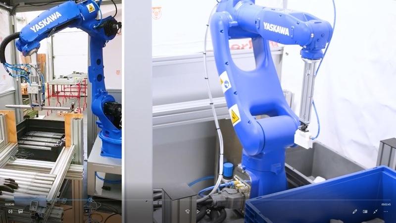 Laborroboter für die Machbarkeitsstudie von bin Picking-Projekten